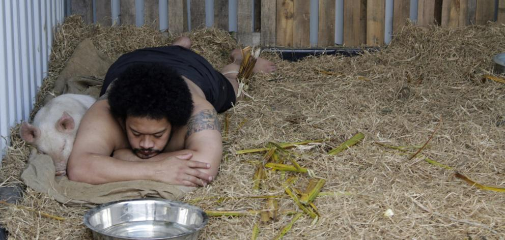 Kalisolaite 'Uhila in Pigs in the Yard (Performance Arcade, Auckland), 2011. Photo: Supplied