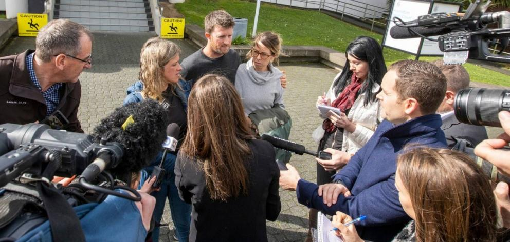 Family of victim Sean McKinnon talk to media at the Hamilton District Court. Photo: NZ Herald