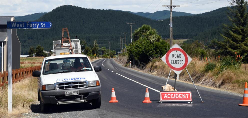 Rongahere Rd, near Beaumont, is closed after a fatal crash yesterday. Photo: Craig Baxter