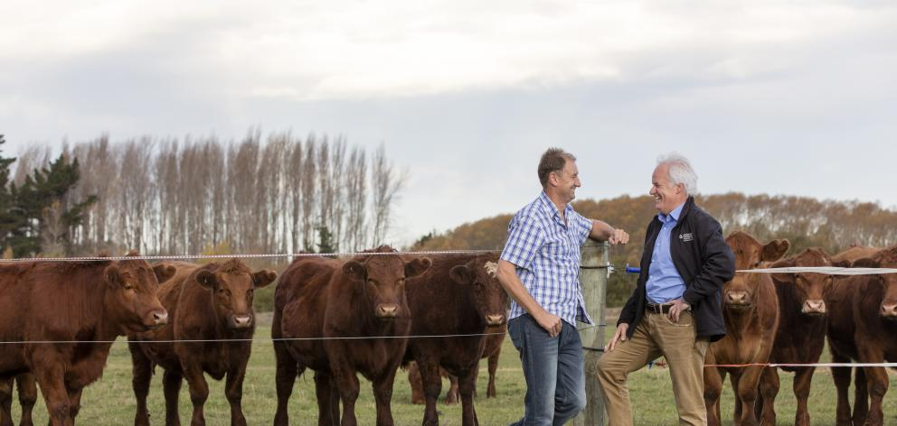 Darryl Brown (left), who manages a 485ha farm at Eyreton chats with Andrew Arps, zone manager northern for Environment Canterbury, about his farm environment plan. Photo: Supplied