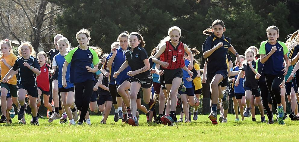 The start during the Girls Year 6 School Cross Country race at Kaikorai Valley College on Friday....