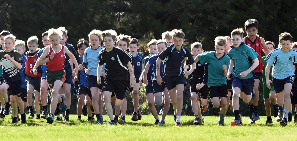 The start during the Boys Year 6 School Cross Country race at Kaikorai Valley College on Friday...