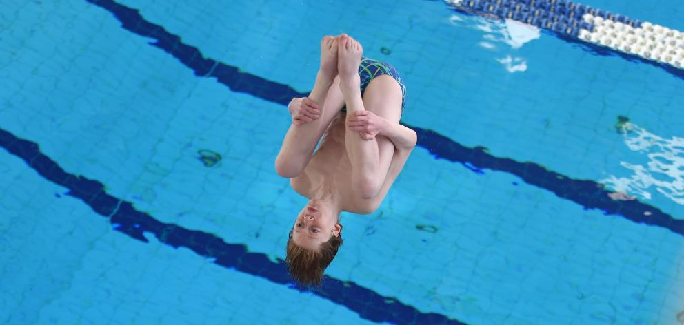 Otago diver Dominic Fortes (15) shows his class while competing at the South Island Diving...