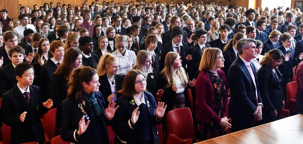 Hundreds of pupils from schools around the region packed into the Otago Girls' High School hall to hear the US civil rights activist. Photos: Peter McIntosh