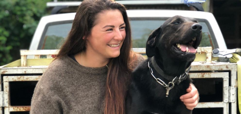 Elle Perriam and dog Jess, who is the mascot for a regional Speak Up tour.