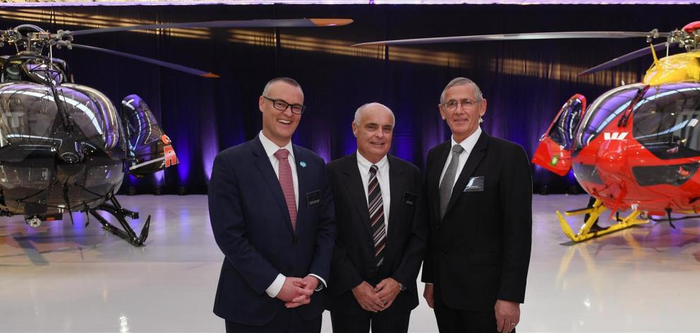 Standing proudly in front of two Airbus H145 twin-engine air ambulance helicopters launched yesterday are Health Minister David Clark, Airbus strategy, sales and marketing vice-president Peter Harris and Otago Helicopters managing director and chief execu