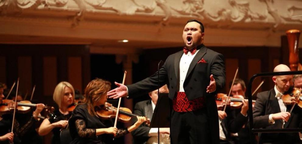 Joel Amosa performs in the Lexus Song Quest with the New Zealand Symphony Orchestra at the Auckland Town Hall last year. Photos: Supplied