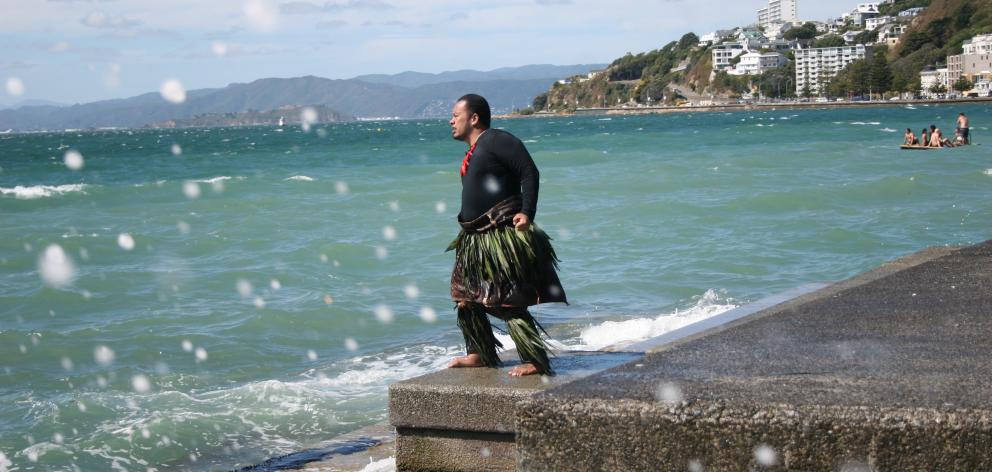 Kalisolaite 'Uhila's Ongo me'i Moana. He conducts the tide at Oriential Bay Wellington. Photo: Supplied