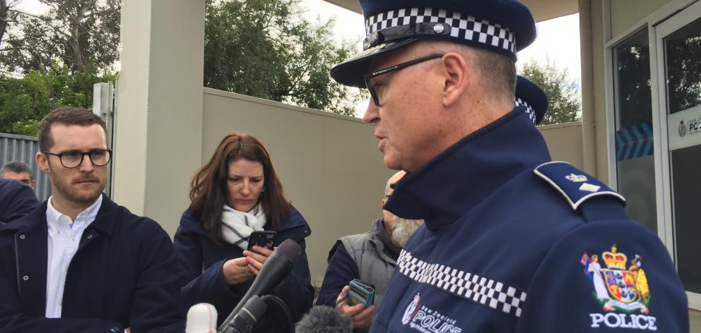 Southern District Commander Superintendent Paul Basham speaks outside the Gore Police Station. Photo: Laura Smith