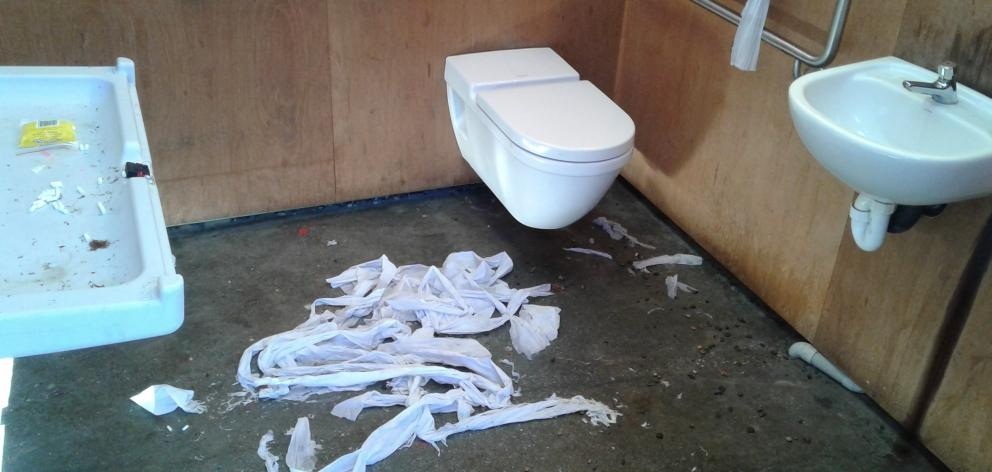An example of vandalism at the Lake Hayes Estate public toilet. Photo: Queenstown Lakes District Council