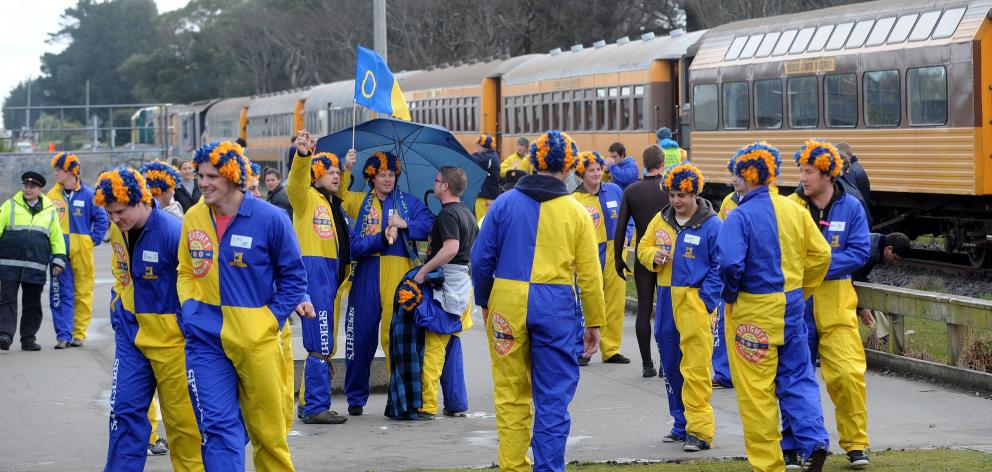 The traIn packed with Otago supporters arrives in Invercargill. Photos: Peter McIntosh