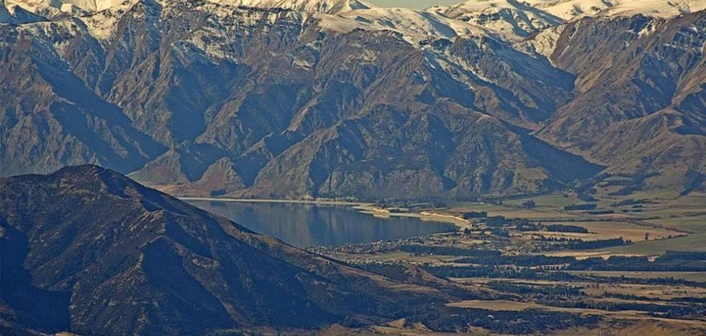 Image of Lake Hawea, taken from the Lake Wanaka Tourism webcam on Roys Peak.