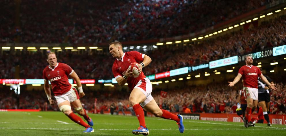 AUG 17/2019. George North of Wales scores the opening try during the Under Armour Summer Series match between Wales and England. Photo: Getty Images