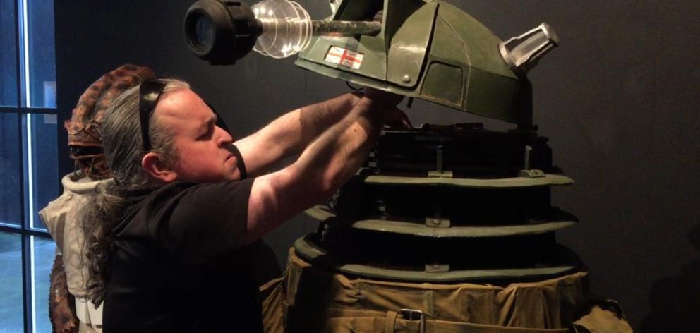Warren Goodwin assembles his Dalek model for this year's iNDx exhibition. Photo: ODT