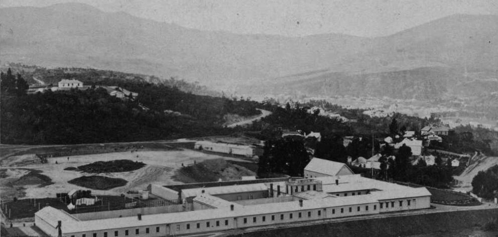 An early photograph of the Dunedin Lunatic Asylum, on what is now the site of Otago Boys' High...