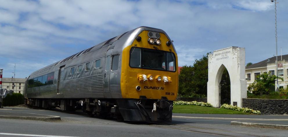 Dunedin Railways' Silver Fern Railcar, heading south past the Garden of Memories in Oamaru. PHOTO...
