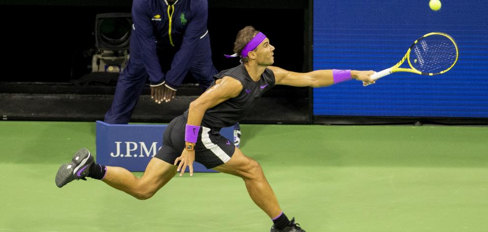 Rafael Nadal stretches for the ball during his US Open semi-final win over Matteo Berrettini....
