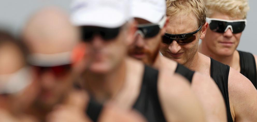 Bond (second from right) and Drysdale were part of the New Zealand eight which needed to make the top five in their final in Austria to seal a spot at Tokyo next July. Photo: Getty Images