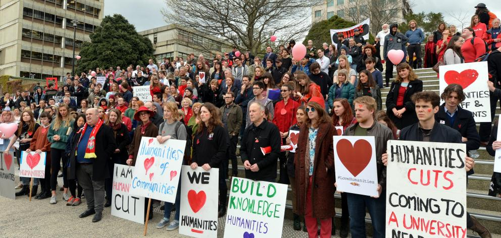 University of Otago staff, students and supporters gather in 2016 to oppose proposed humanities...