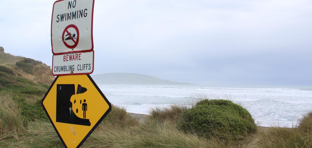 Swimmers have to look elsewhere other than Gemstone Beach in Southland, as the crumbling cliffs...