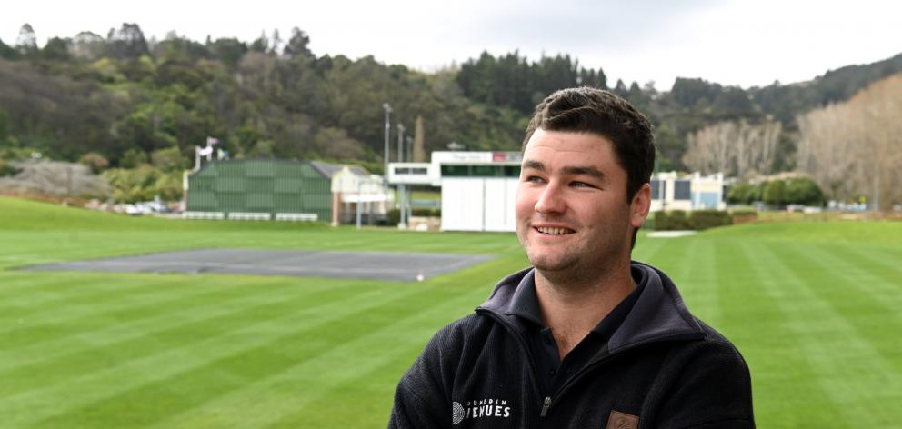 University of Otago Oval turf manager Jayden Tohill is embracing the challenge to prepare a first-class pitch for a match in late October. Photo: Linda Robertson