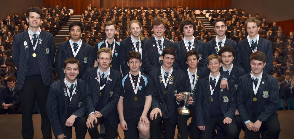 The winning King's High School Rankin Cup team at a special assembly yesterday. Back row (from...