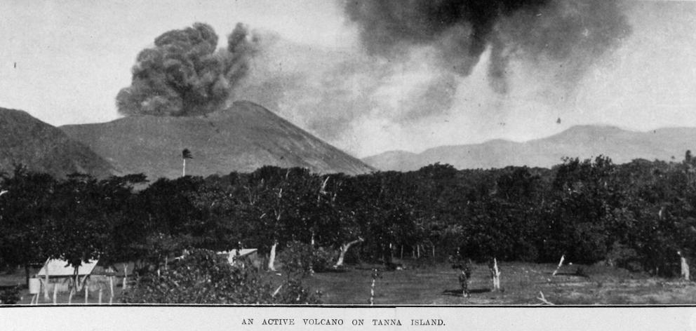 An active volcano on Tanna Island, New Hebrides. — Otago Witness, 12.9.1919. COPIES OF PICTURE...