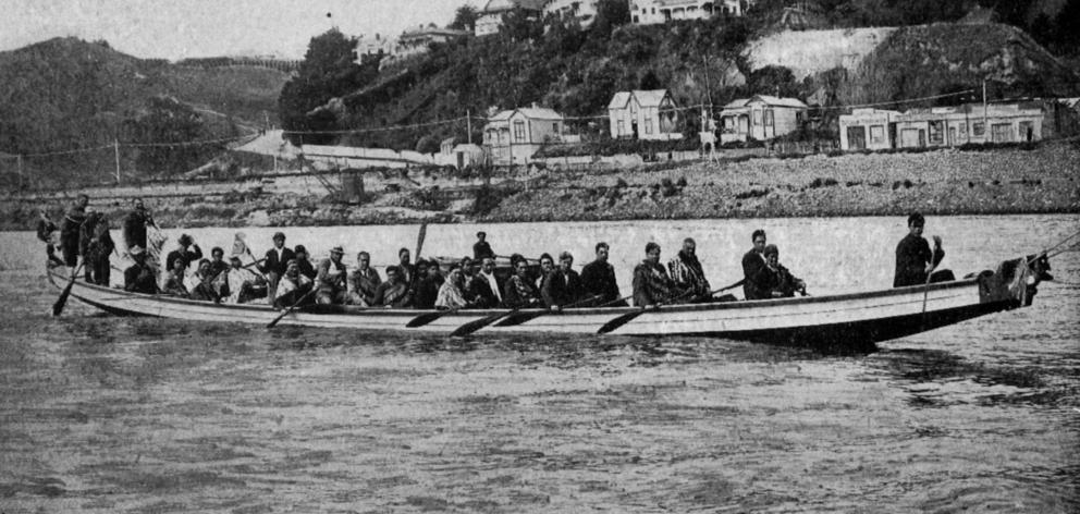 A Maori war canoe that greeted the Wanganui Harbour Board's new dredge, Kaione, at the mouth of...