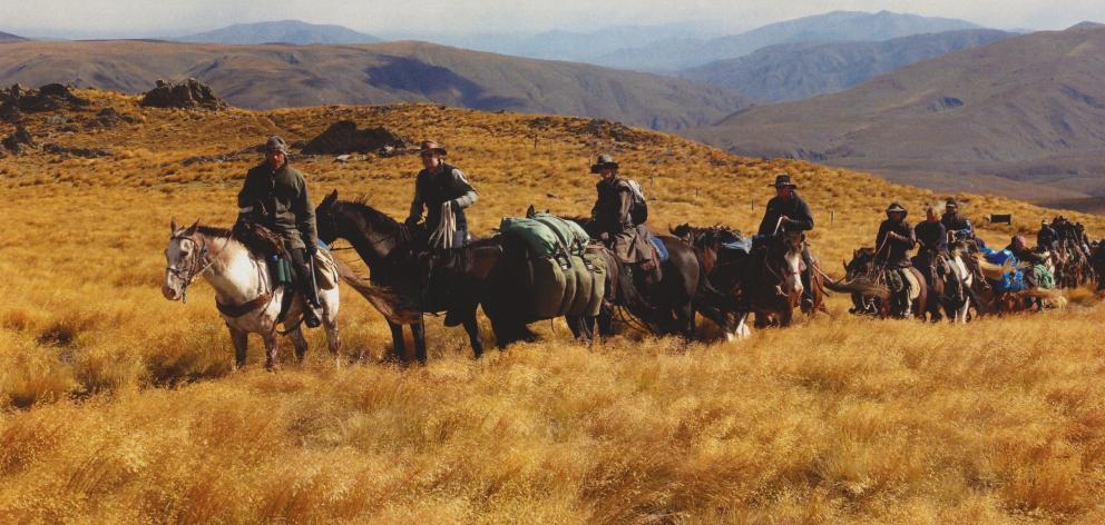 Richard Parsons (left) takes part in a previous Otago Goldfields Heritage Trust Cavalcade, near Kyeburn. PHOTO: STEPHEN JAQUIERY