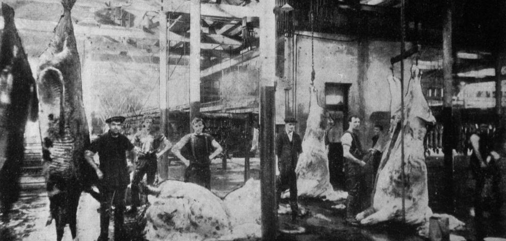 Butchers at work dressing bullock bodies at the Dunedin City Abattoirs. - Otago Witness, 21.10...