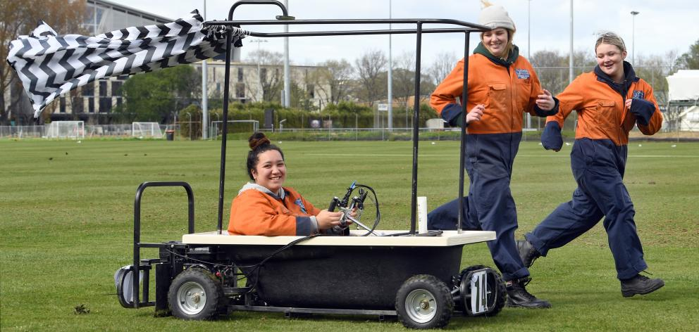 Otago Polytechnic level 2 automotive mechanical engineering students (from left) Stoney Huntley, Mikayley Bennett and Arizona Greig take their award-winning bath kart for a spin. Absent: Hayley Buchanan and Cleveland Kaiwai. Photo: Stephen Jaquiery