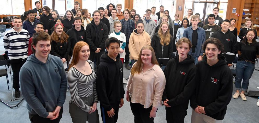 Southern singers (from left) Ronan Geraghty (17), of Logan Park High School, Rosie Auchinvole (16), of Columba College, Aidan Hung (16), of John McGlashan College, Emma Jones (17), of Southland Girls' High School, Jesse Hanan (14), of Bayfield High School