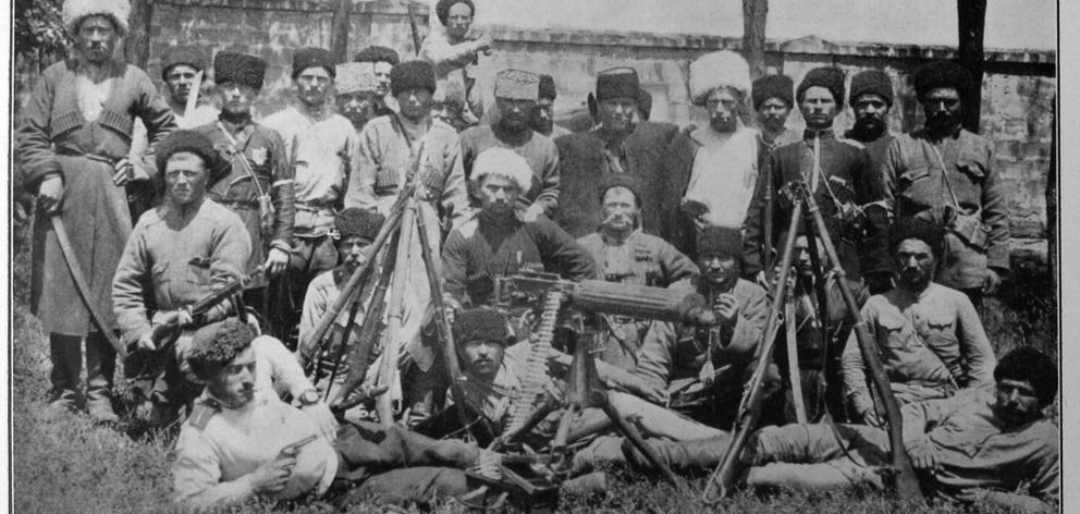 Fighting the Bolsheviks in Russia: a group of Cuban Cossacks at Kestch, Eastern Crimea. — Otago...