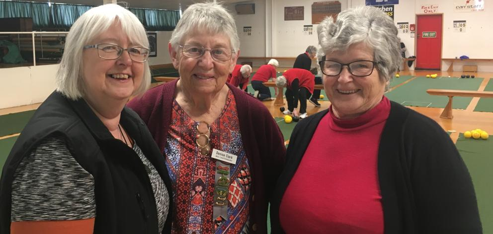 Mid Canterbury Federation of Women's Institutes representative bowlers Jude Vaughan, Denise Clark and Yvonne Lister during the Canterbury regional interprovincial indoor bowls play-offs in Ashburton. Photo: Toni Williams
