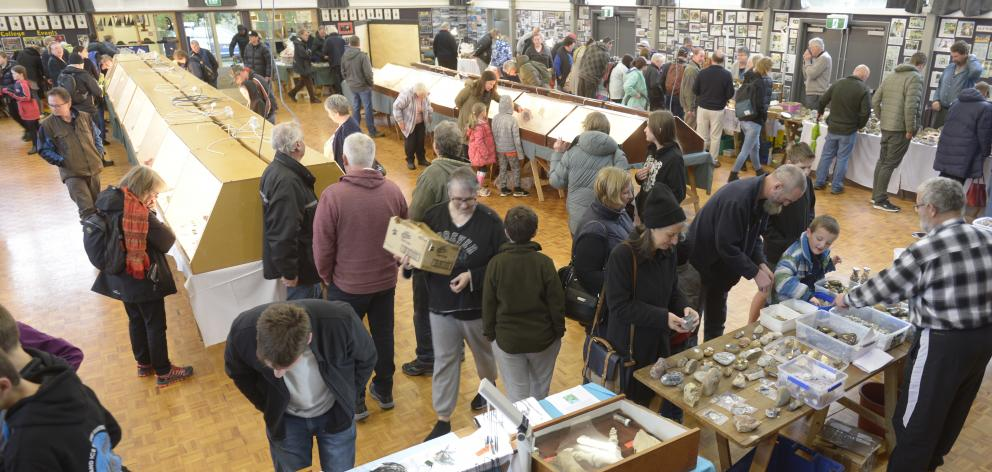 People explore the exhibits at the show at Kaikorai Valley College.