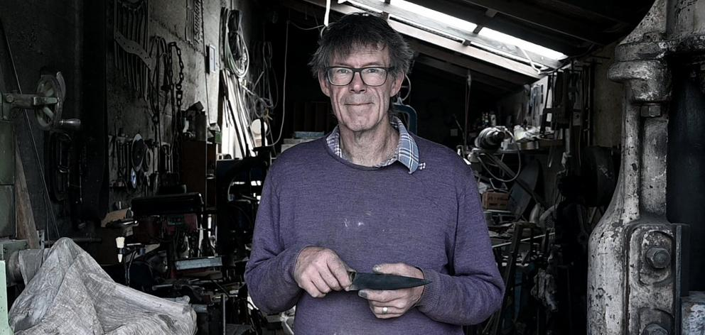 Peter Lorimer's Omakau smithy is where he creates his steel and iron works.Photo: Craig Baxter
