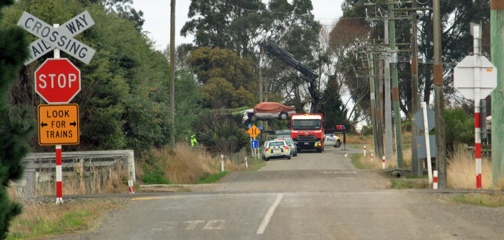 The scene of a fatal crash in TY Duncan Rd, Oamaru, in June. Photo: Hamish MacLean