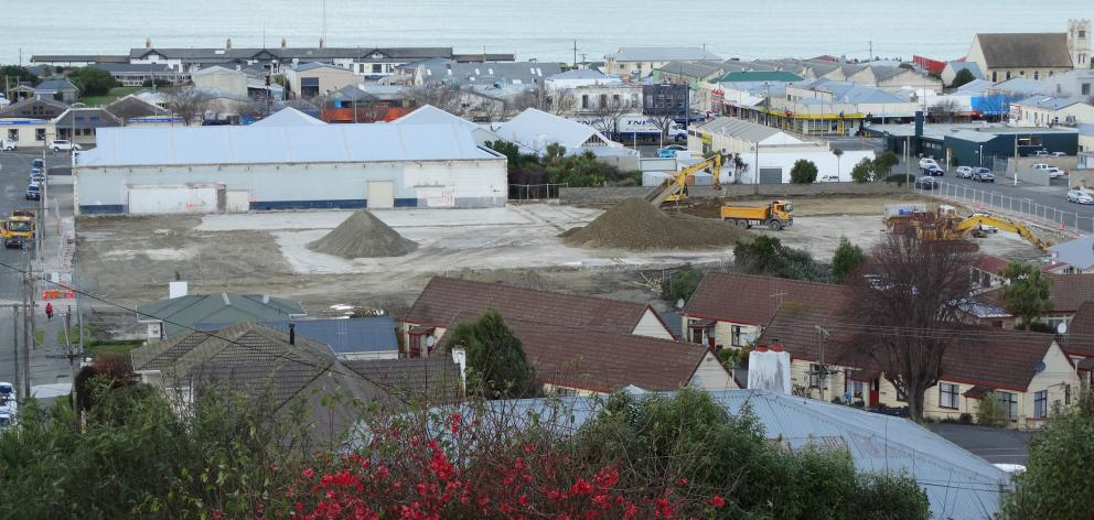 Crews work at the site of Mitre 10 Mega's future premises between Dee and Ribble Sts in Oamaru,...