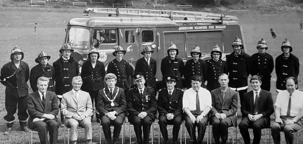 The Queenstown Volunteer Fire Brigade pose on the recreation ground after taking delivery of the...