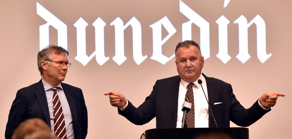 Economic Development Minister David Parker (left) and Regional Development Minister Shane Jones announce Provincial Growth Fund grants in Dunedin yesterday. Photo: Peter McIntosh