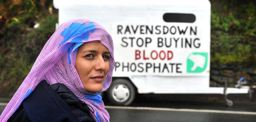 Visitor Tecber Ahmed Saleh, with a protest message about the Ravensdown fertiliser plant in...