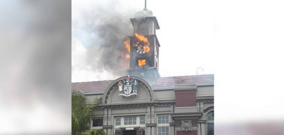 Whangārei's iconic, 117-year -old ''Old Town Hall'' has been badly damaged in a fire this afternoon. Photo : Northern Advocate