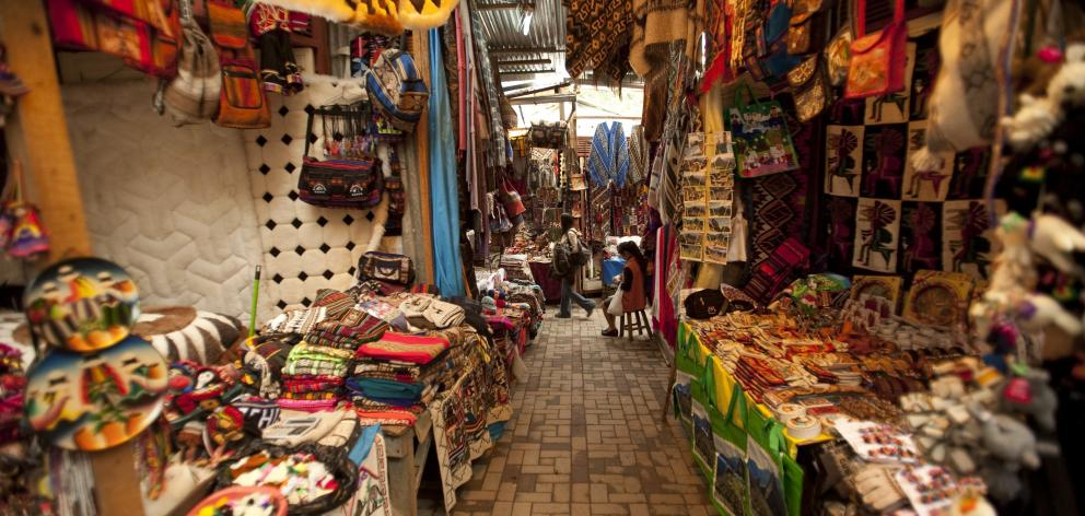 The colourful markets at Aguas Calientes where we disembarked near the foot of Machu Picchu...