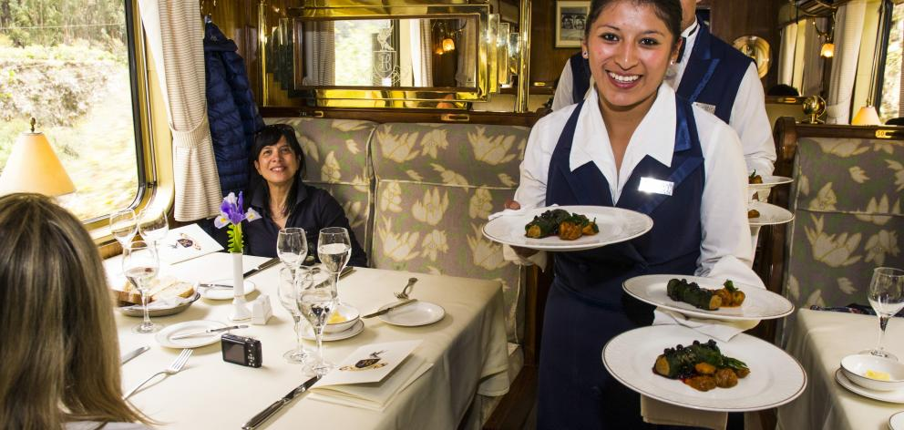Fine dining on the Belmond Hiram Bingham on the way to Machu Picchu.