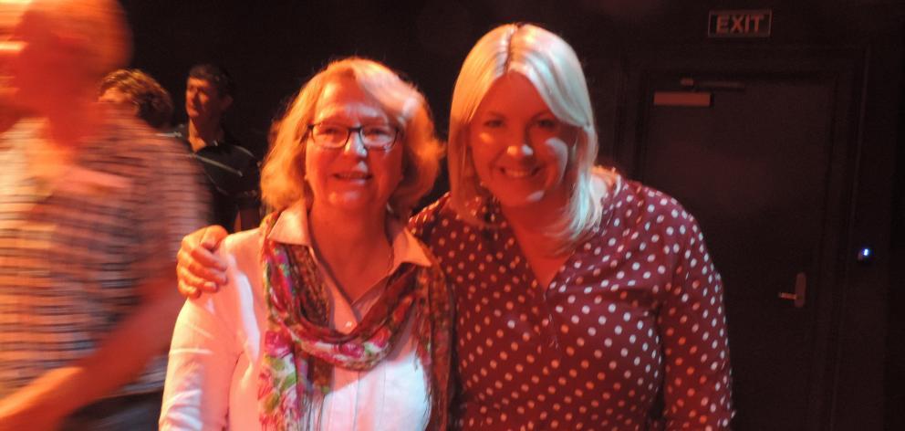 """Staying Positive'' speaker Sarah Perriam (right) met Lorna Elliott at the Oamaru seminar. Photo: Sally Brooker"