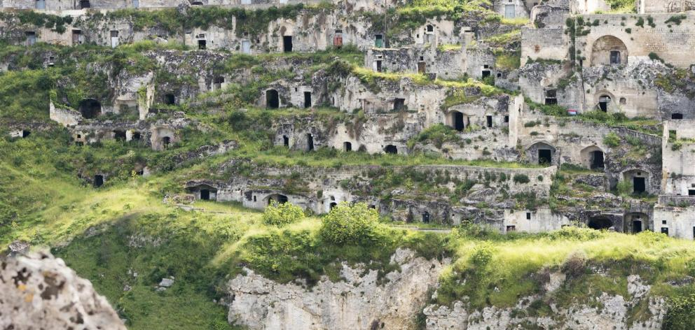 The historical cave dwellings of Matera.