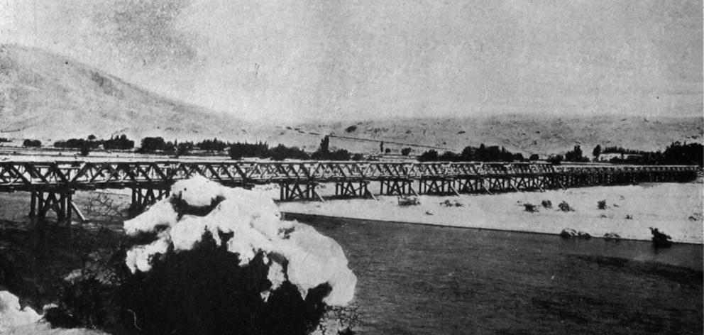 The bridge over the Waitaki River at Kurow, under snow after an unseasonal fall varying from 25...