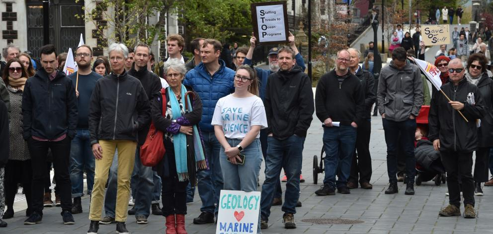 Supporters of the Marine Science Department  demonstrate at the University of Otago yesterday....