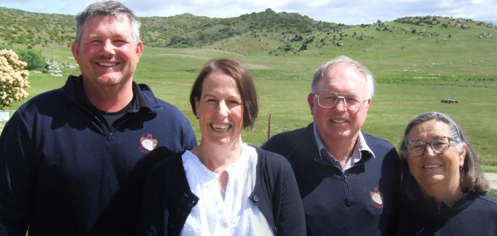 Brett (left), Helen, John and Mary-Liz Sanders are third and fourth generation to farm Matangi...