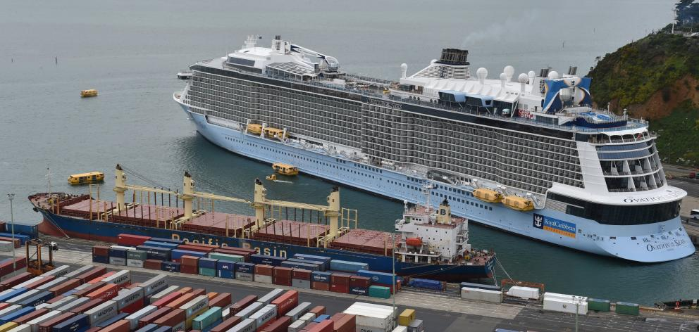 Fourth-largest cruise ship in the world ... The 4900-berth, 16-deck Ovation of the Seas at Port...